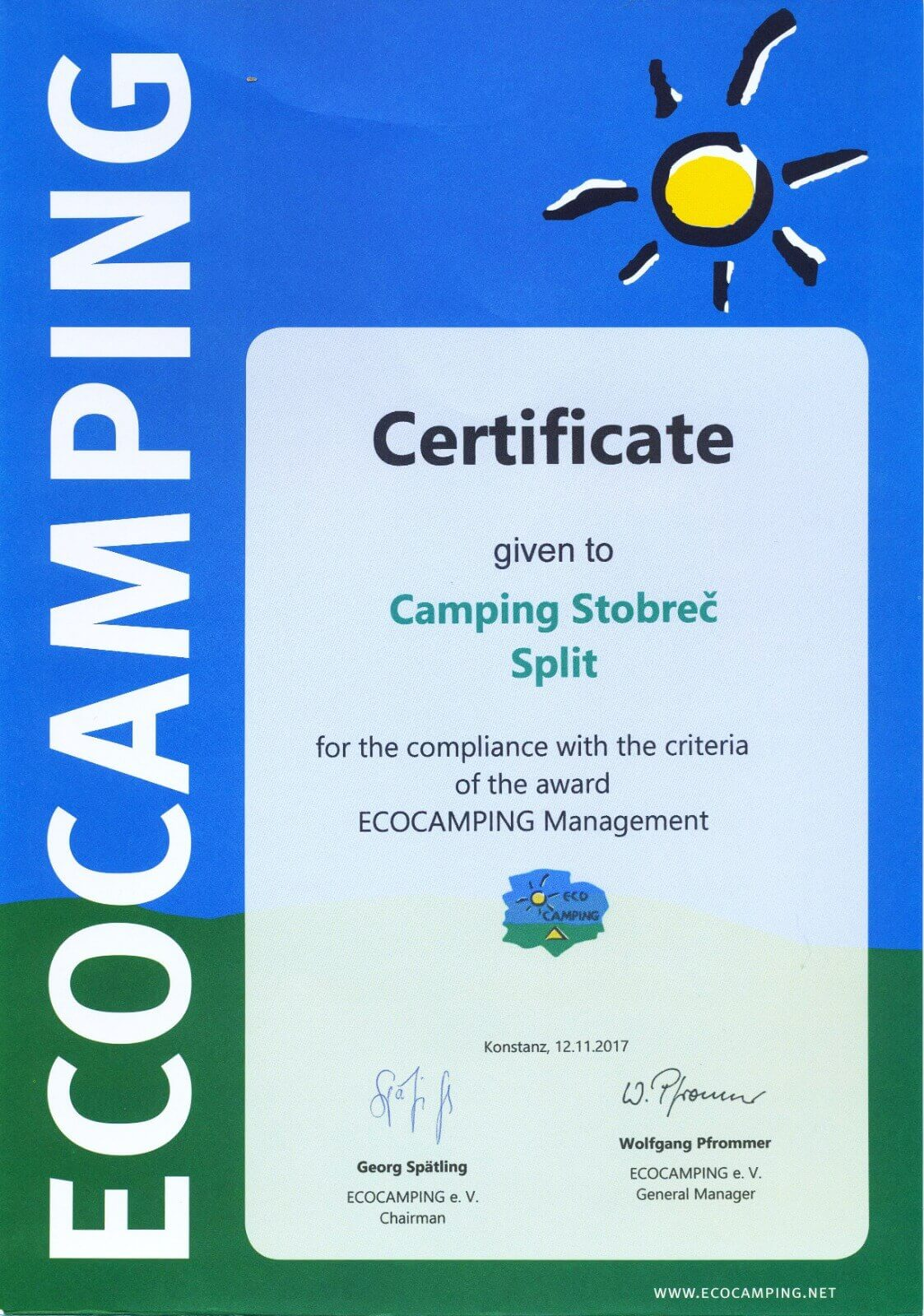 Certificate Eco Camping